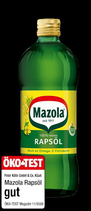 Mazola Rapsöl Flasche und Ökotest Siegel