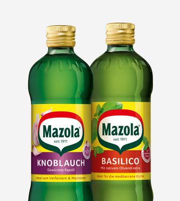 Mazola Knoblauch und Basilico Flaschen