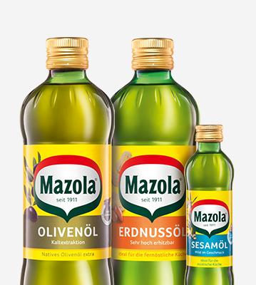 Mazola Olivenöl, Erdnussöl und Sesamöl